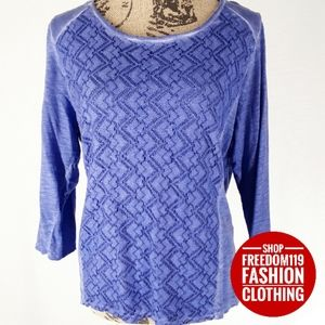 Chico's | 3/4 Sleeve Scoop Lace Overlay Blouse (M)